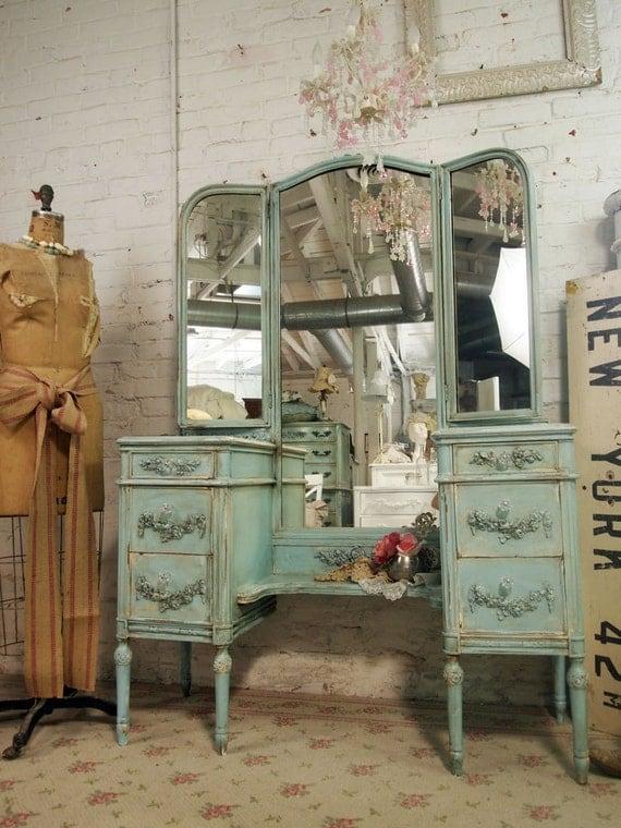 Vintage Painted Cottage Shabby Aqua Chic Vanity VAN210