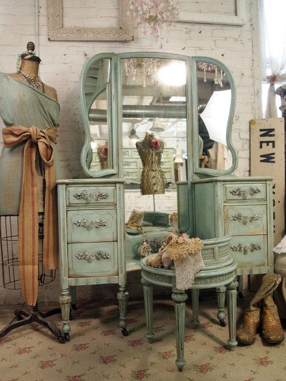 Vintage Painted Cottage Shabby Aqua Chic Vanity VAN214