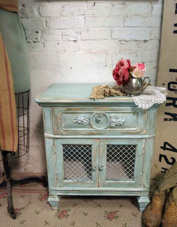 Vintage Painted Cottage Shabby Aqua Chic Night Table NT245
