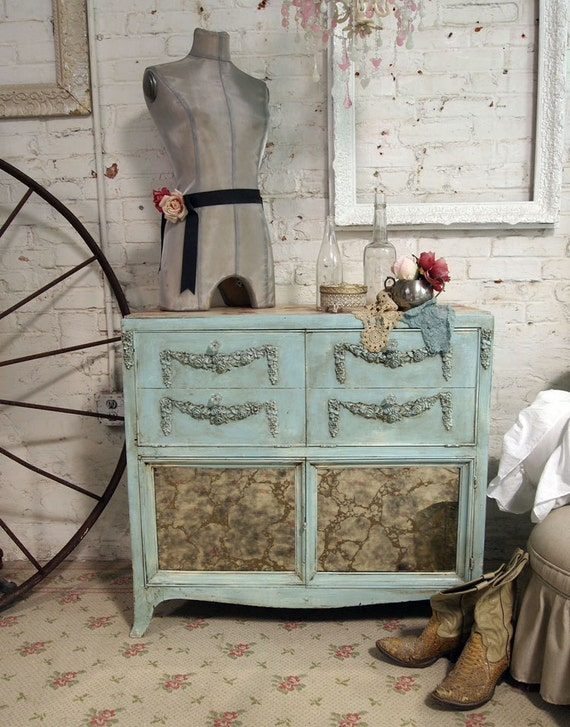 Vintage Painted Cottage Chic Shabby Aqua Chic Buffet SV227