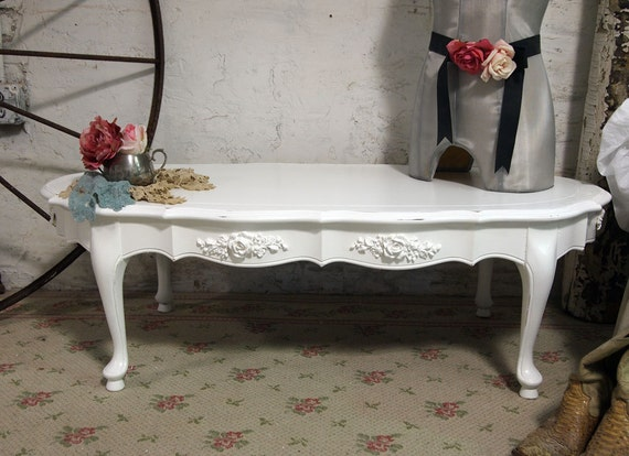 Vintage Painted Cottage Chic Shabby White French Coffee Table CFT211