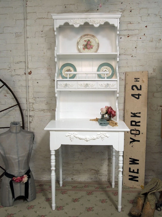 Painted Cottage Chic Shabby White French Desk DK223