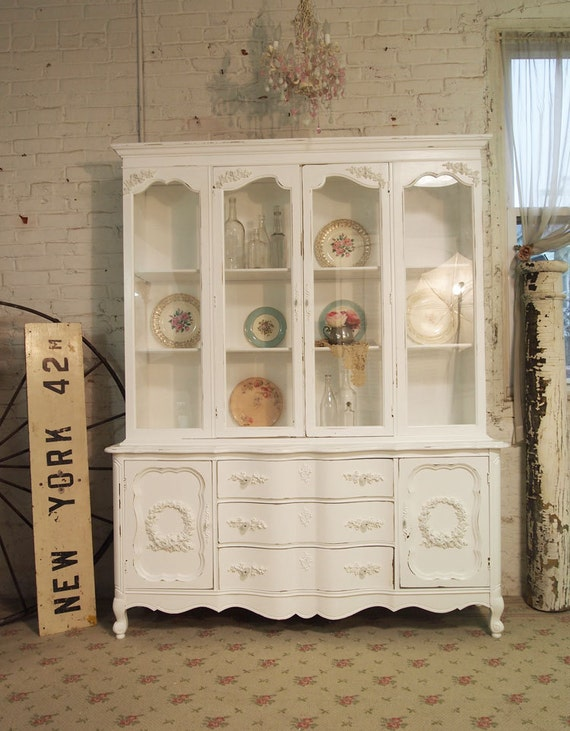 RESERVEAngelikiPainted Cottage Romantic Shabby White Vintage French China Cabinet CC285