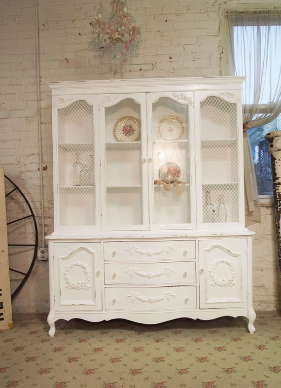 Painted Cottage Romantic Shabby White Vintage French China Cabinet CC286
