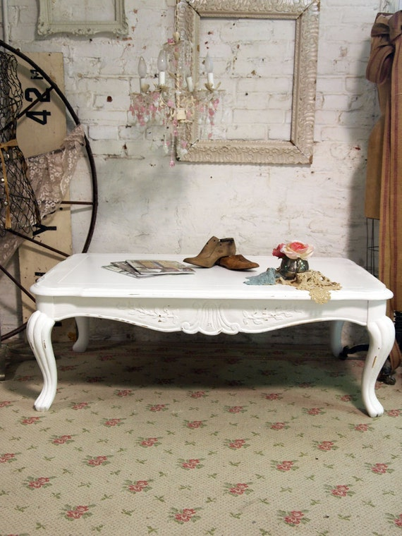Painted Cottage Chic Shabby White French Coffee Table CFT222
