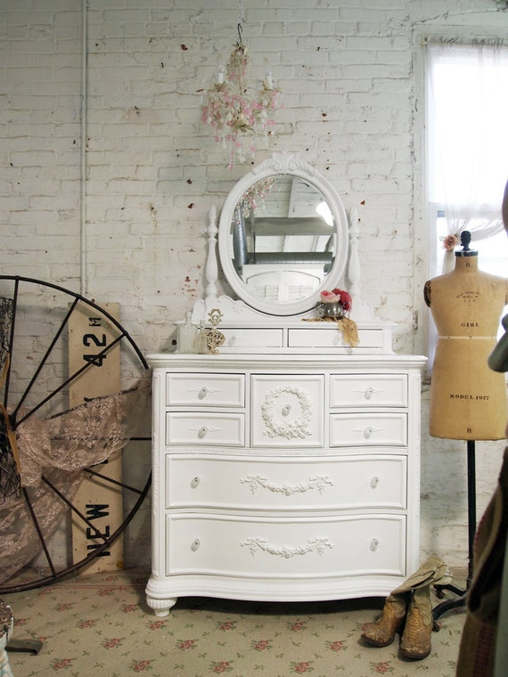 Painted Cottage Chic Shabby White Romance Dresser with Mirror CH15