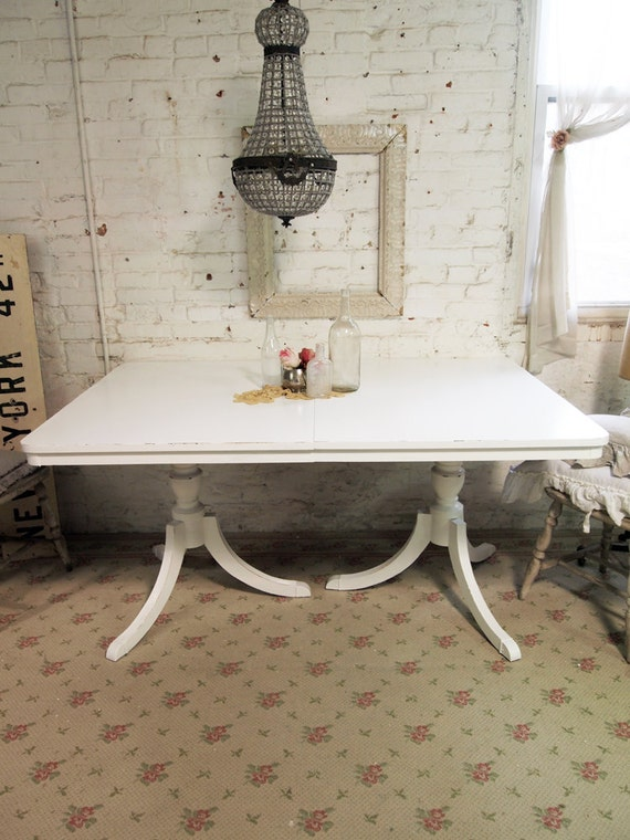 Painted Cottage Chic Shabby White Farmhouse Table TBL232