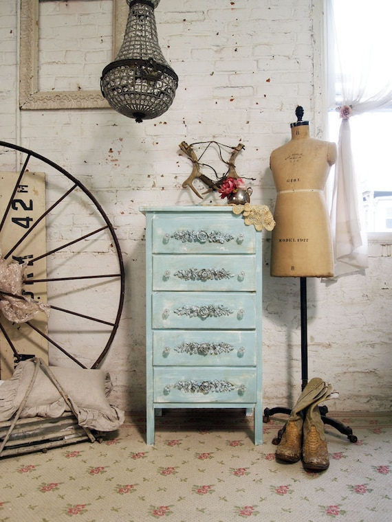Painted Cottage Chic Shabby Aqua French Dresser CH304