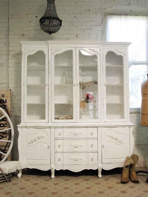 RESERVE TARA Painted Cottage Chic Shabby White Romantic China Cabinet CC318