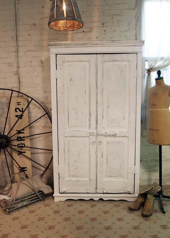 painted cottage chic shabby white handmade farmhouse armoire. Black Bedroom Furniture Sets. Home Design Ideas