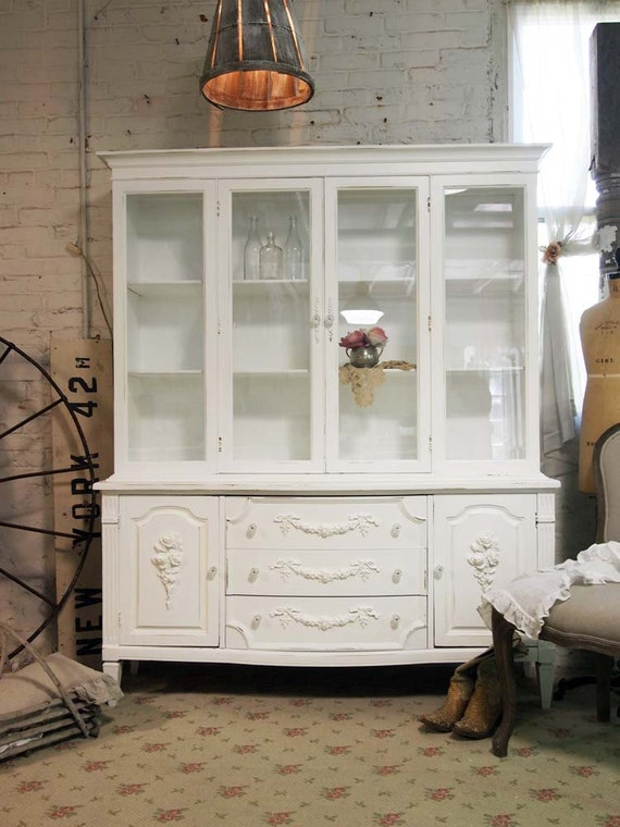 Painted Cottage Chic Shabby White Romantic French China Cabinet CC326
