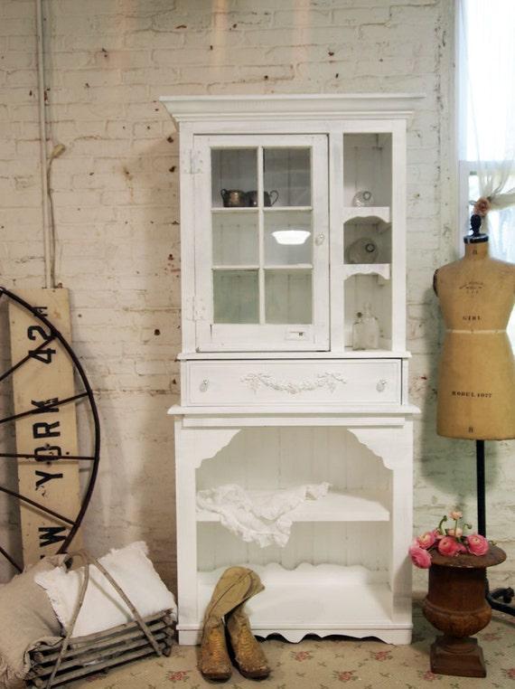 Painted Cottage Shabby White Handmade French Farmhouse China Cabinet CC331