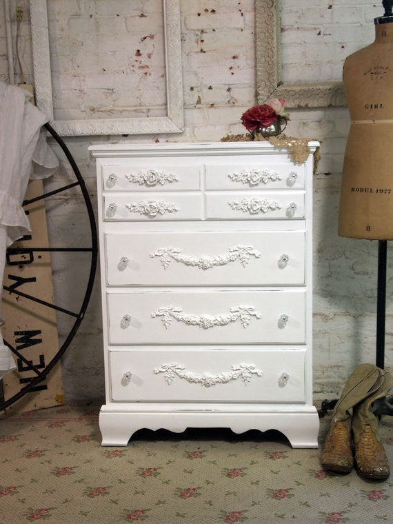 Painted Cottage Chic Shabby White Romantic Dresser CH336