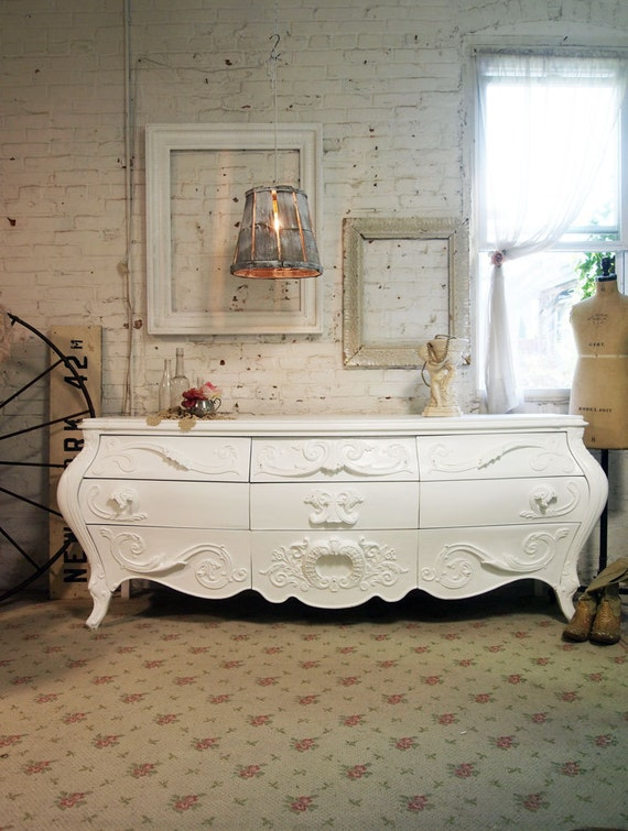 Painted Cottage Chic Shabby White French Dresser DR368