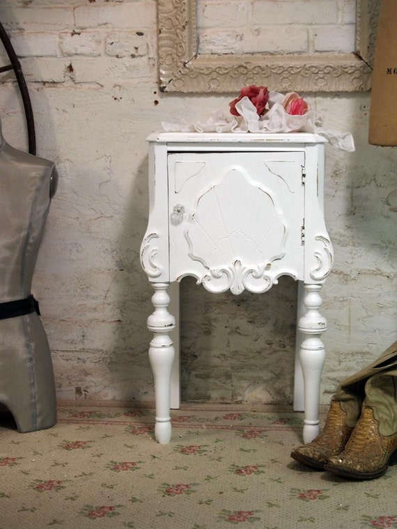 RESERVED AMRIT Painted Cottage Chic Shabby White French Night Table NT405
