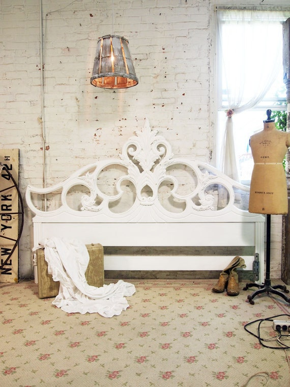 Painted Cottage Chic Shabby White French King Headboard BD401