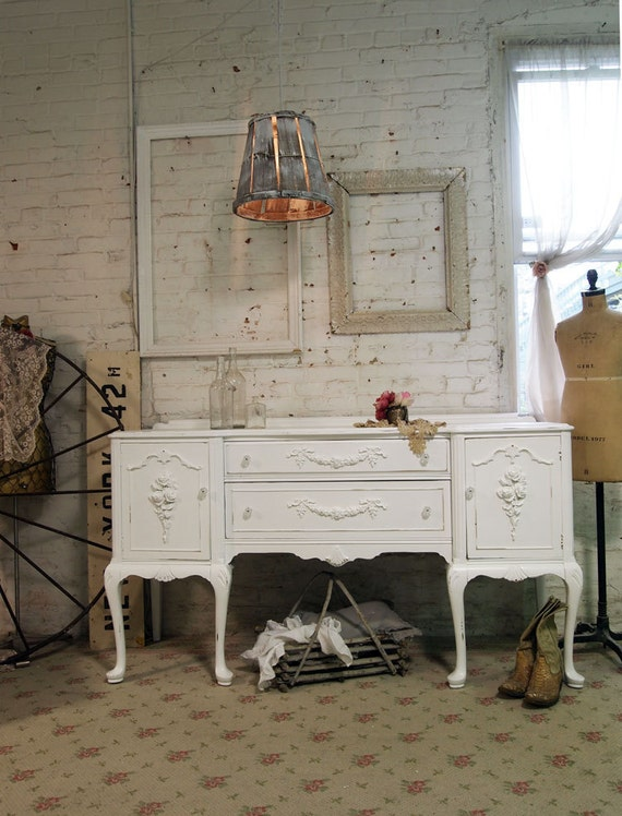 Painted Cottage Chic Shabby White French Server SV285