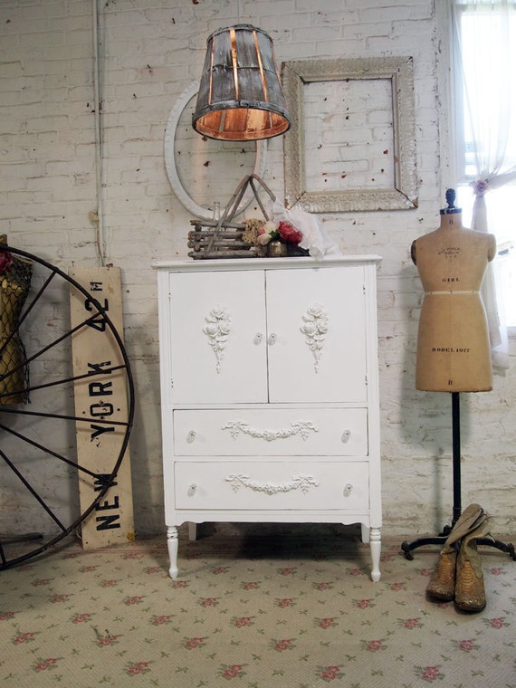 RESERVED for CHRISTINE Painted Cottage Chic Shabby White Romantic French Dresser CH343