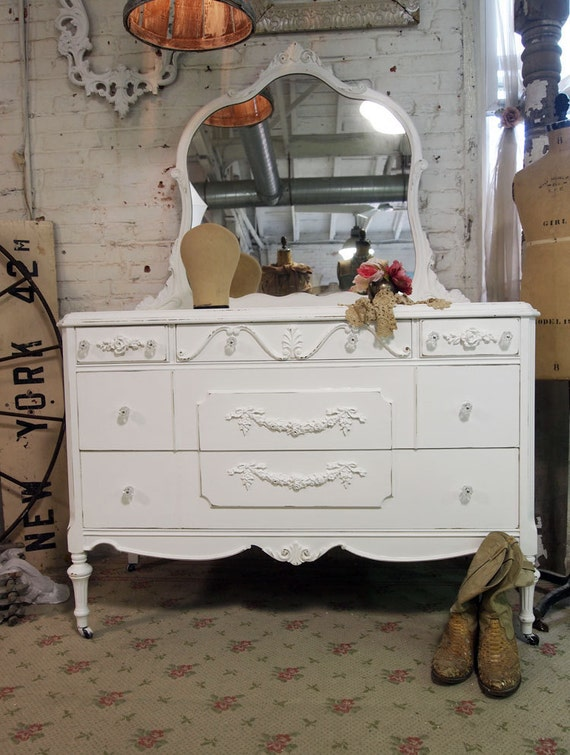 Painted Cottage Chic Shabby White Romantic French Dresser and Mirror DR374