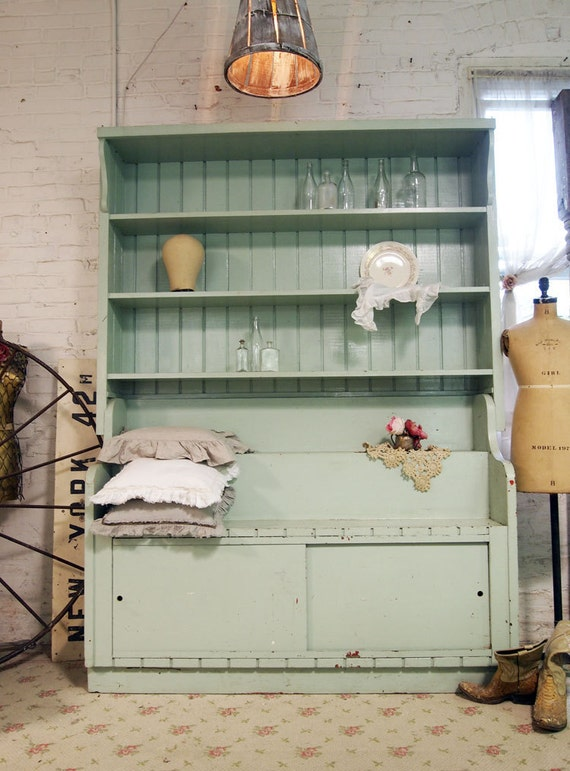 RESERVE ANNE Painted Cottage Chic Shabby Mint Green Farmhouse Hutch CC340