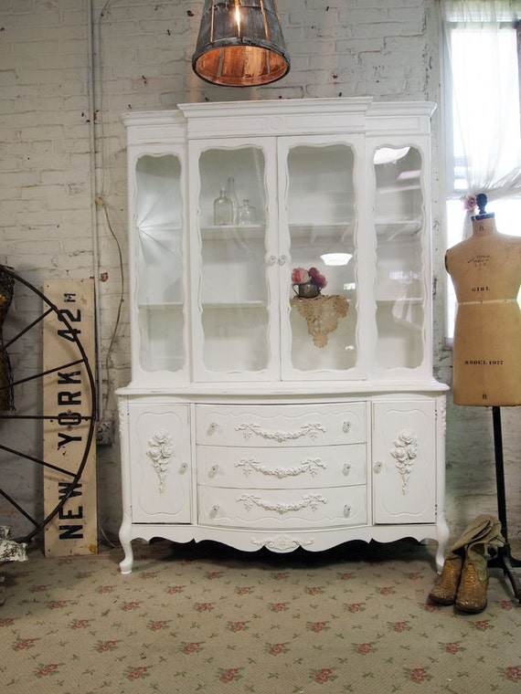 RESERVE for FRANKI Painted Cottage Chic Shabby One of A Kind French China Cabinet CC341