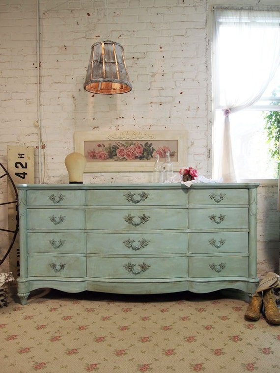 Painted Cottage Chic Shabby Aqua French Dresser DR376