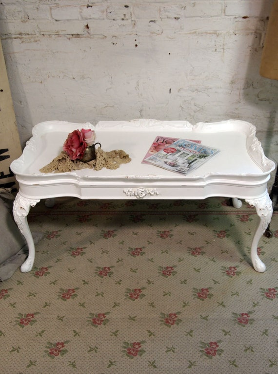 Painted Cottage Chic Shabby White Romantic French Coffee Table CFT235