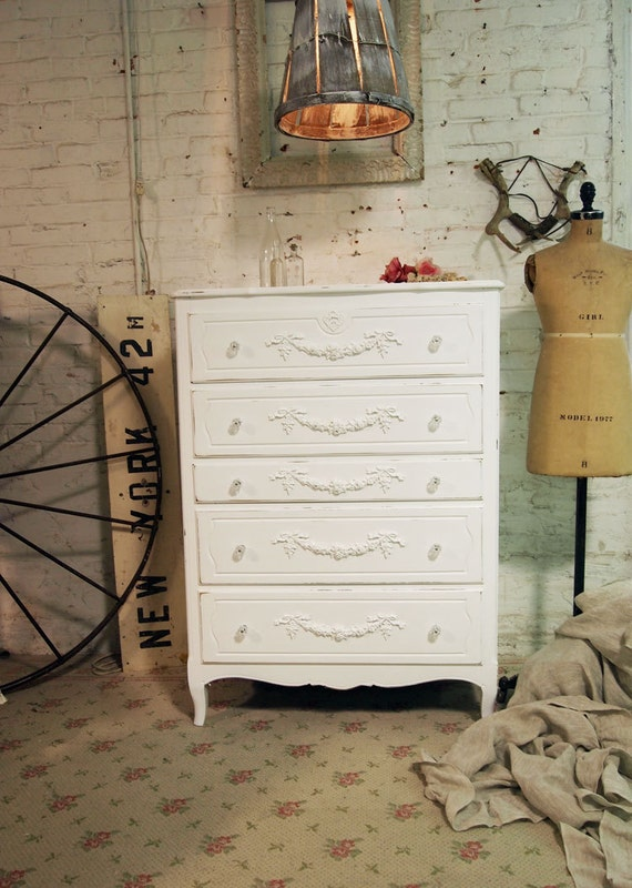 Painted Cottage Chic Shabby White Chic Romantic Dresser CH248