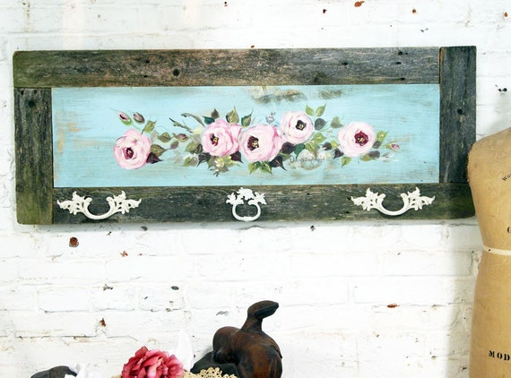 Painted Cottage Chic Shabby Hand Made Rose Painting VF276
