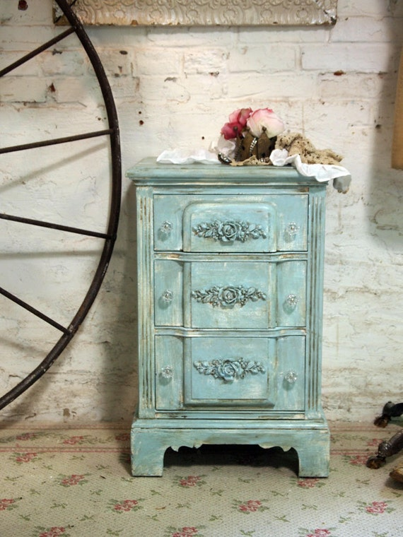 Painted Cottage Chic Shabby White Romantic Night Table NT414