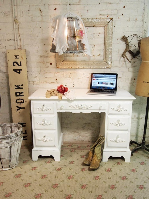Painted Cottage Chic Shabby White Romantic French Desk DK257