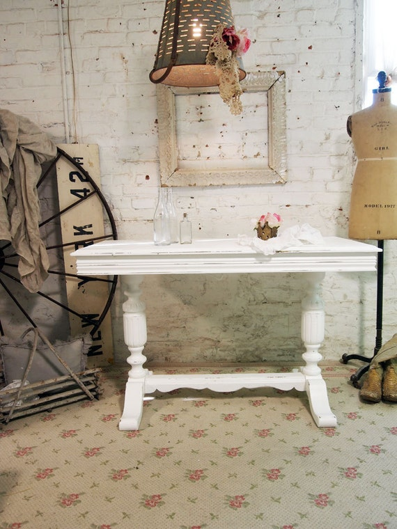 Painted Cottage Shabby White Romantic French Refectory Farm Table TBL250
