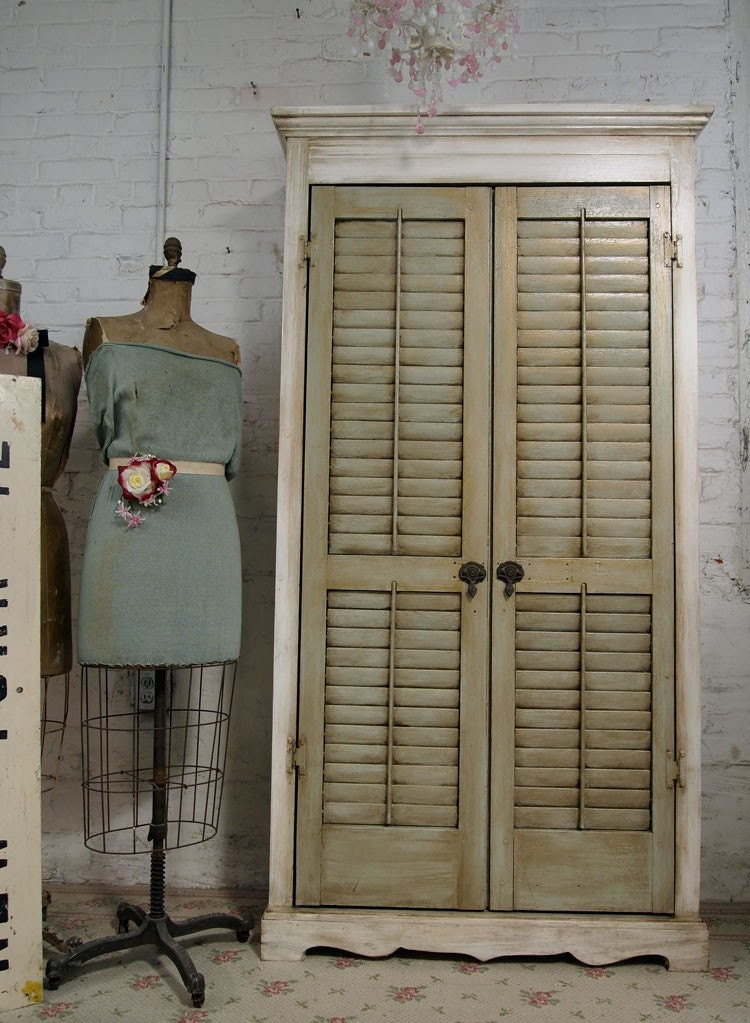 Vintage Painted Cottage Chic Shabby Farmhouse Shutter Cabinet