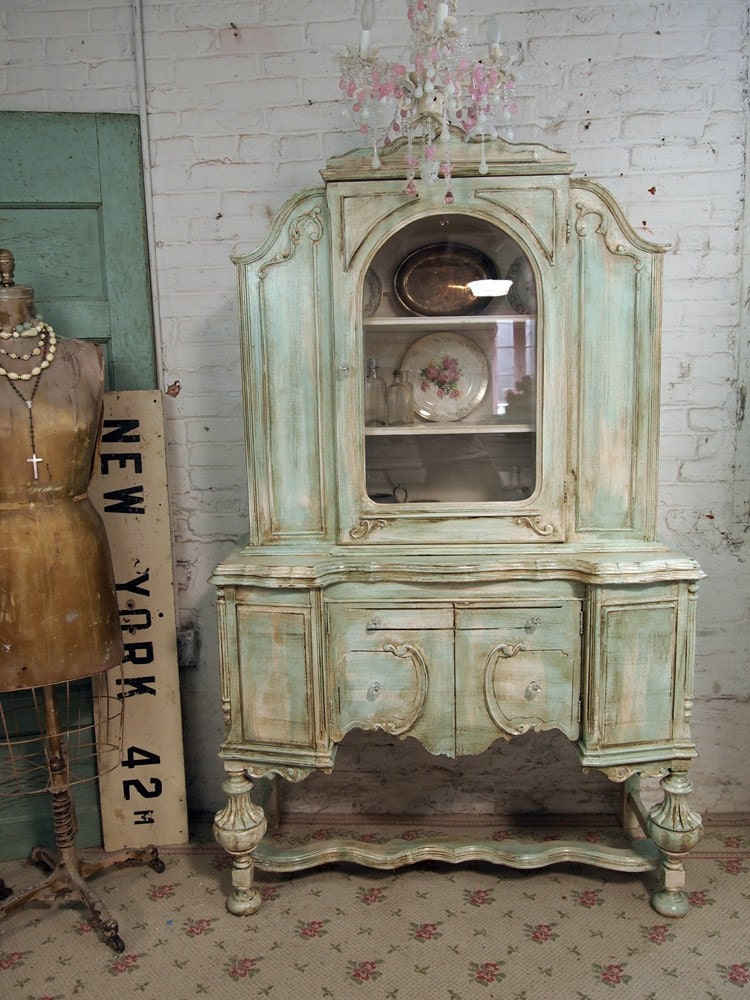 vintage painted cottage aqua chic shabby china cabinet cc118. Black Bedroom Furniture Sets. Home Design Ideas