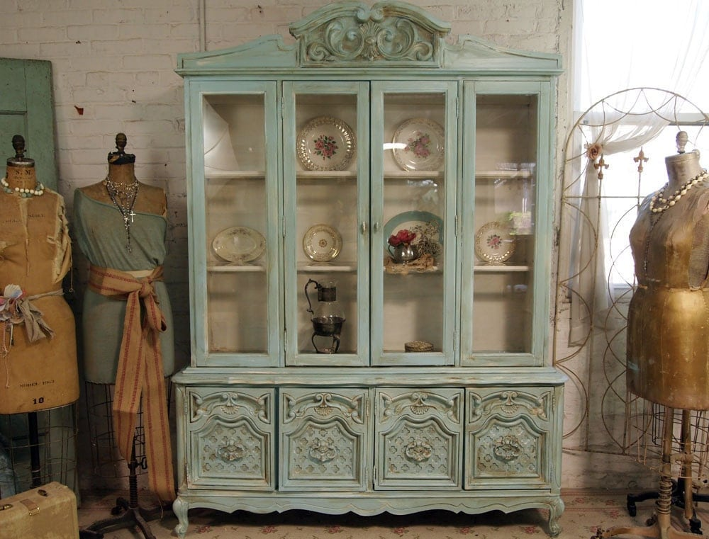 vintage painted cottage aqua chic french china cabinet. Black Bedroom Furniture Sets. Home Design Ideas