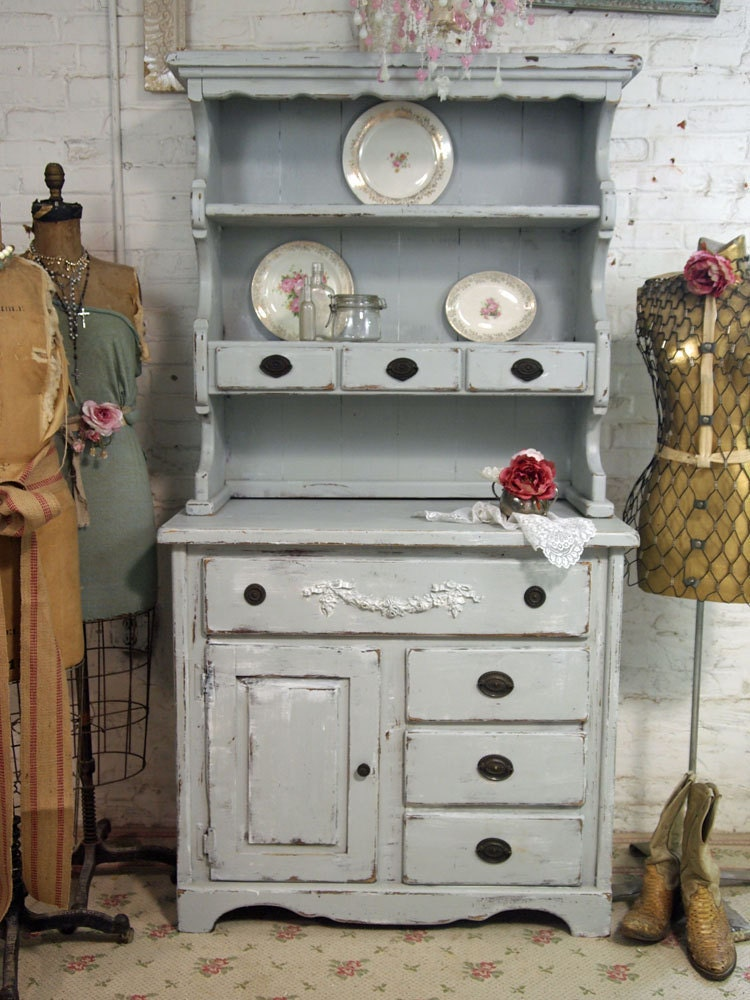vintage painted cottage grey farmhouse hutch by