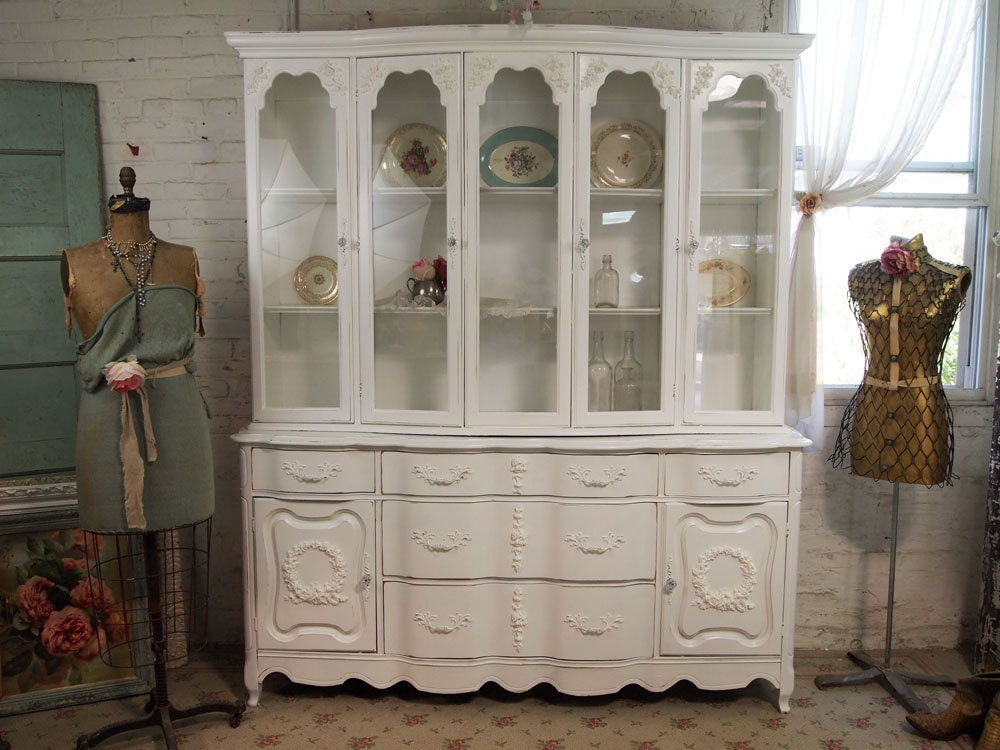 vintage painted cottage chic shabby white china cabinet cc158. Black Bedroom Furniture Sets. Home Design Ideas