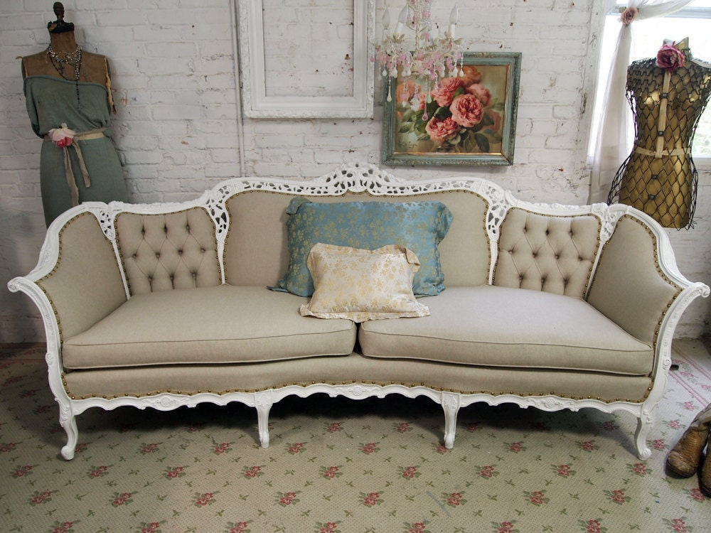 Reserved for cara vintage painted cottage chic shabby white for White couches for sale