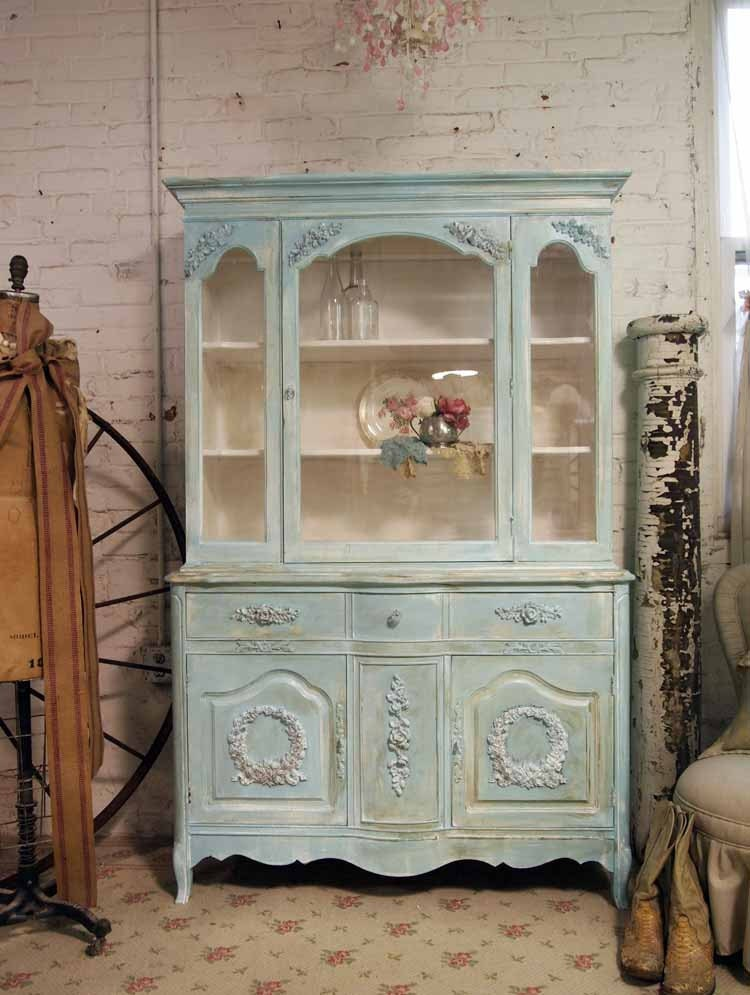 Painted cottage shabby aqua chic china cabinet cc262 for Mobilier shabby chic