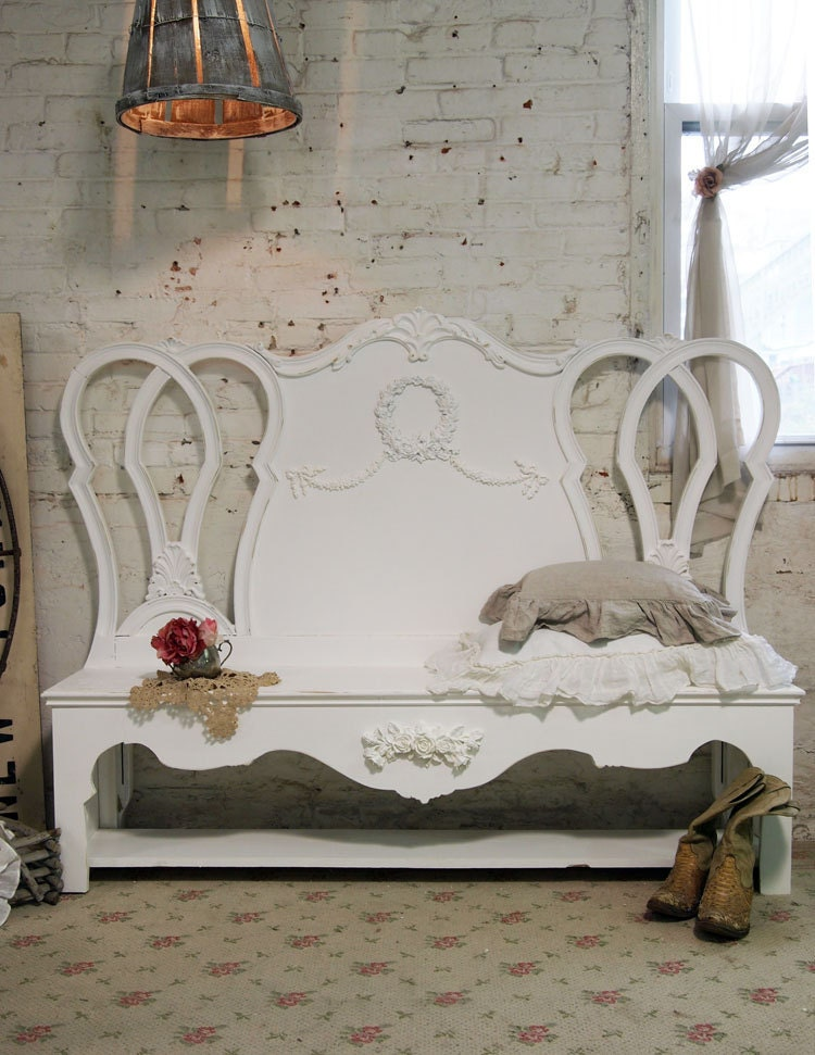 Painted cottage chic shabby white handmade farmhouse bench bch for Shabby chic farmhouse