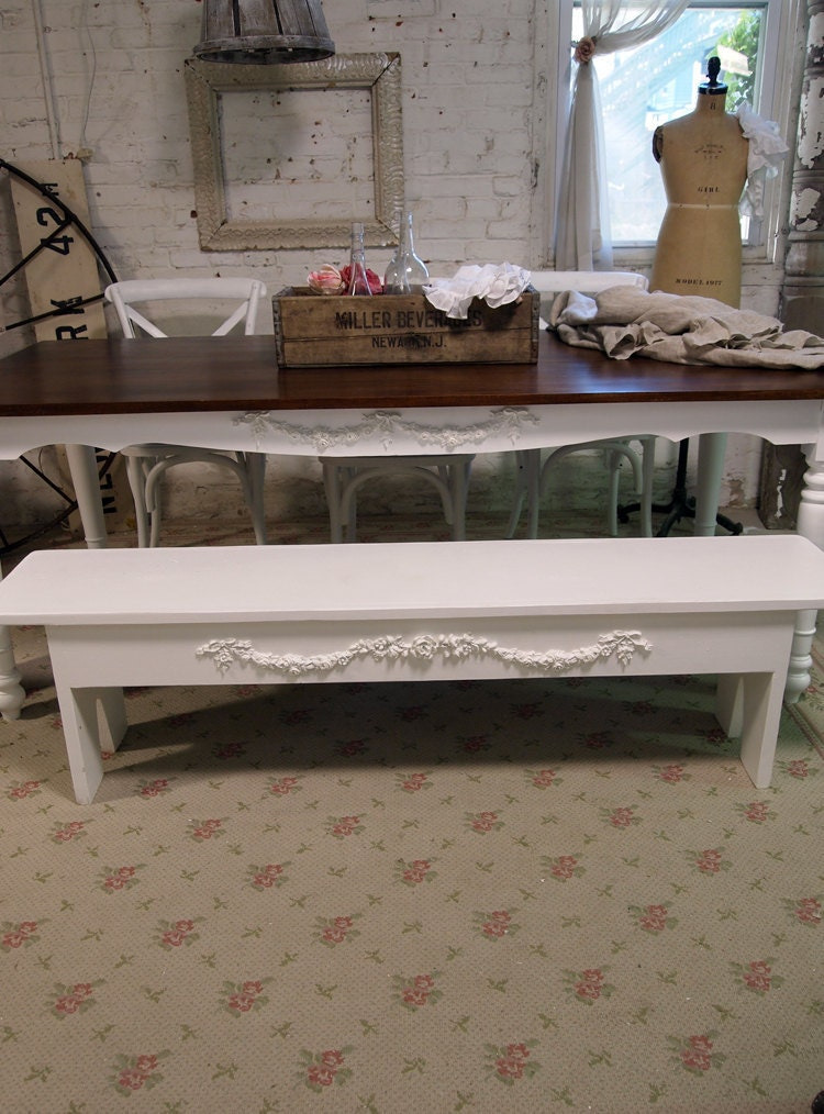 Shabby Chic Bench ~ Painted cottage chic shabby farmhouse bench by paintedcottages