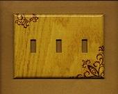 "Oversized 6.5"" x  4.5""  It Looks like Wood Triple Switchplate cover"