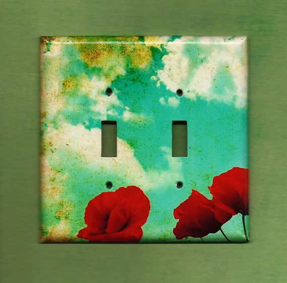Oversized Double Red Poppies Switchplate cove