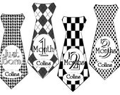 Boy Monthly Stickers Tie Personalized (Black and White) - Baby Month Stickers -Includes Newborn and Extra-Large 12 Month Sticker