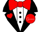 Valentine Tuxedo Iron On Heat Transfer for Boys - Personalized