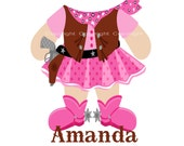 Cowgirl Iron On Heat Transfer for Girls - Personalized - Great for Onesies and Tshirts