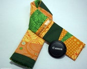 sale - Patchwork Camera Strap Cover with Secure Pocket - Green and Gold - Ready to Ship