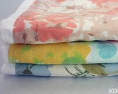 Set of 3 Burpies made with Vintage Linens - Watercolor - Ready to Ship
