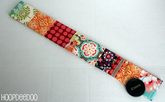 Patchwork Camera Strap Cover with Secure Pocket - San Antonio - READY TO SHIP