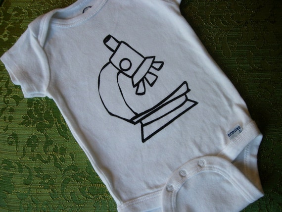 White baby onesie (boy or girl). Screen printed microscope design.